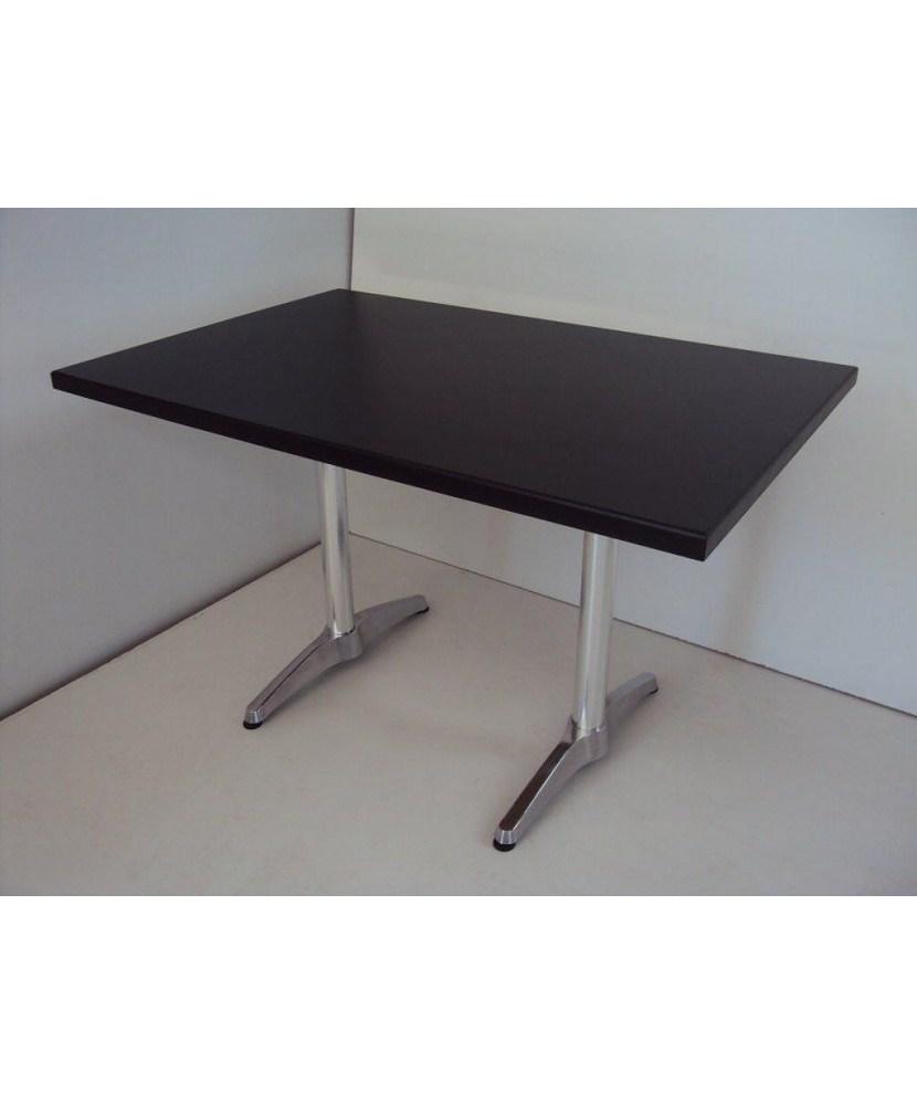 Professioneller Holztisch mit Aluminiumfuß für Cafes, Restaurant, Cafeterias, Gastronomie (120Χ80)