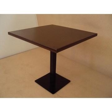Table en bois professionnelle avec base en fonte et glaçure en noyer pour café bar