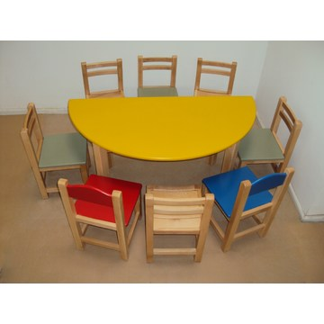 Professional Children's Wooden semicircular Table for nurseries and kindergartens